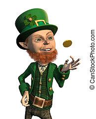 Lucky Leprechaun Flipping a Coin - A lucky leprechaun flips...
