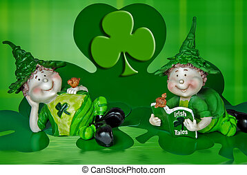 Lucky Leprechauns - Cute Irish leprechauns on shamrocks.