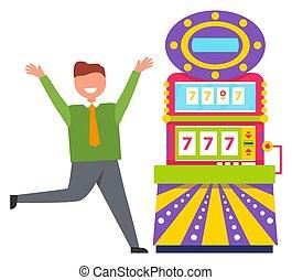 Lucky Man Gambling in Casino, 777 Machine Vector