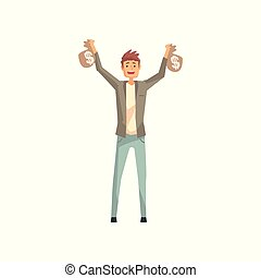 Lucky man holding two bags of money. Cartoon male character won in lottery. Person with good luck. Guy wearing jacket, t-shirt and jeans. Flat vector illustration