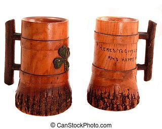 Lucky Mugs - Pair of vintage wooden drinking mugs with Irish...