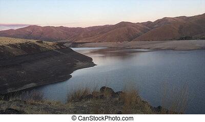 Lucky Peak Lake Dam at Sunset Ada County, Idaho