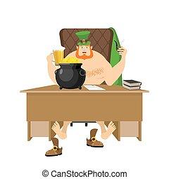 lucky., pièces., dur, légendaire, or, pipes., pot, bière, relaxing., day., grande tasse, trésors, barbe, irlande, lutin, 's, type, vacances, frais, rouges, st.patrick