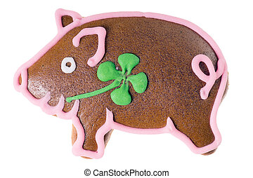 Lucky Pig Gingerbread isolated over a white background