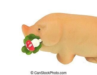 lucky pig with four leave clover-gluecksschwein