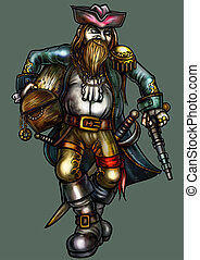 Lucky pirate with gold treasure - Illustration fortunate...