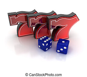 Lucky sevens and dice - Lucky number seven and dice over ...
