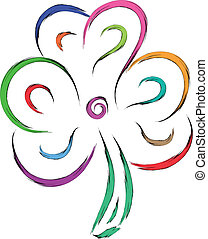 lucky shamrock - abstract shamrock vector sketch...