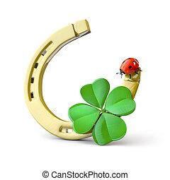 Lucky symbols : horse-shoe,  four-leaf clover and ladybug