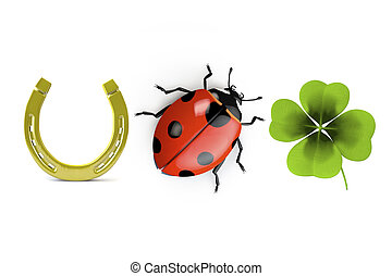 Lucky symbols - 3d collection of good luck symbols isolated...