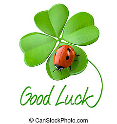 Lucky symbols:  four-leaf clover and ladybug