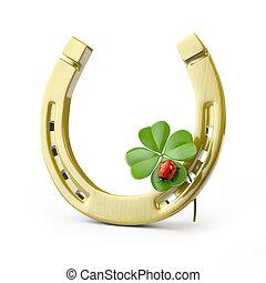 Lucky symbols : horse-shoe ,  four-leaf clover and ladybug