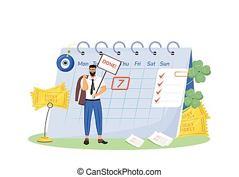 Lucky ticket flat concept vector illustration. Superstitious man, lottery winner 2D cartoon character for web design. Good luck talismans and fortunate signs, common superstitions creative idea