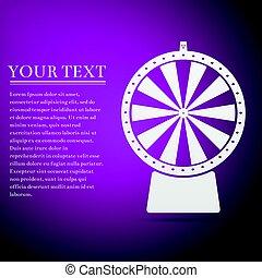 Lucky wheel flat icon on purple background. Vector Illustration