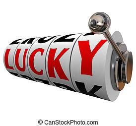 Lucky Word Slot Machine Wheeels Winning Luck Winner