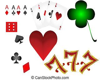 lucky7, gluecksspiel, spielen karte, satz