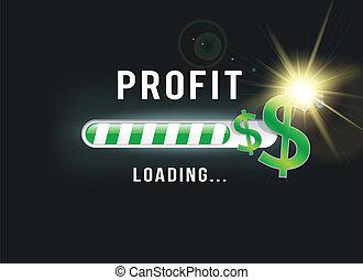 lucro, carregando, dólar, seu