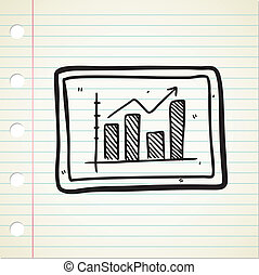 lucro, doodle, gráfico, mapa