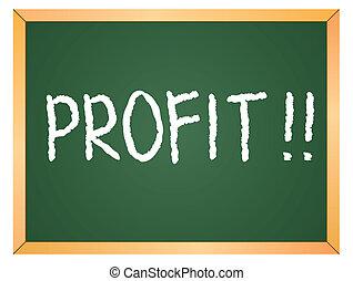 lucro, escrito, chalkboard