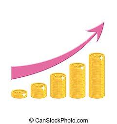 lucro, estilo, crescimento, caricatura, isolado