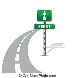 lucro, estrada, ilustração, desenho