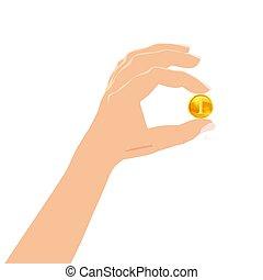 lucro, finanças, seu, fundo, ouro, sucesso, dinheiro, concept., estilo, ilustração, mão, negócio, vetorial, desenho, segurando, coin., fazer, branca, caricatura
