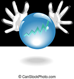 lucro, futuro, bola cristalina, em, mãos