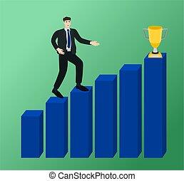 lucro, gráfico, andar, crescimento, homem negócios