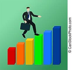 lucro, gráfico, executando, crescimento, homem negócios