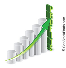 lucro, gráfico, ilustração negócio
