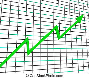 lucro, gráfico, linha, verde, mostra