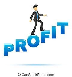 lucro, homem negócios, escalando, texto