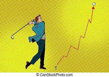 lucro, homem negócios, golfe, tiro, gráfico