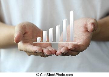 lucro, mapa, ligado, mão, pessoal, investimento