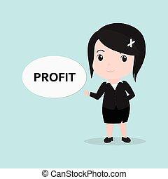 lucro, mulher, conceito, mensagem, negócio