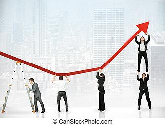 lucro, trabalho equipe, incorporado