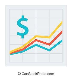 lucro, vetorial, ícone