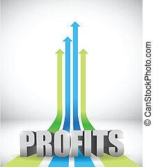 lucros, negócio, gráfico, conceito, ilustração
