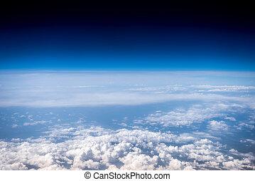 luddig vita sky, och blåa, sky., stratosphere., utsikt från...