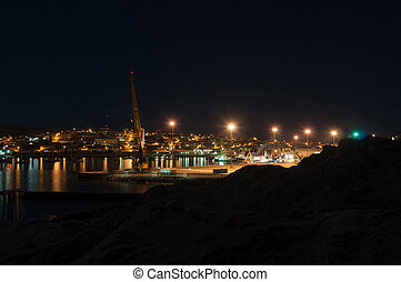 Luderitz harbor and town at night