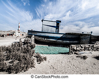 luderitz, ruina, devasted, namibia, barco, playa