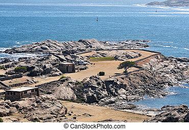 luderitz, tiburón, campamento, isla
