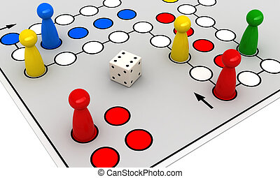 3d render of ludo (Take it Easy) board game