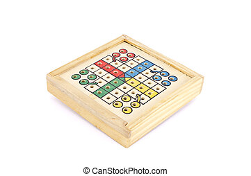 a wooden travel parchis