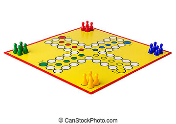 Ludo boardgame arranged on a white background