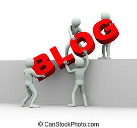 ludzie, -, 3d, pojęcie, blogging