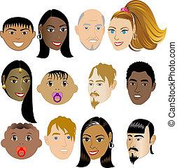 ludzie, 4, twarze