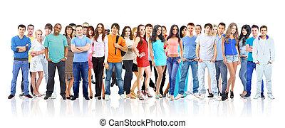 ludzie., biały, grupa, młody, odizolowany