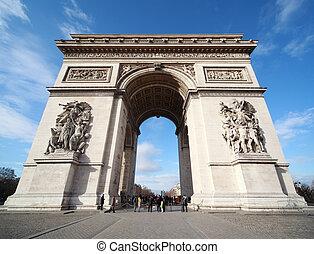 ludzie, blisko, triumfalny obłąk, w, paryż, francja, błękitne niebo, i, biały zasępia