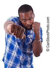 ludzie, boks, -, amerykanka, czarnoskóry, afrykanin, położenie, człowiek